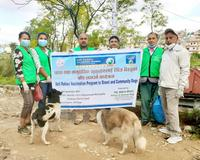 Voice of Animal Nepal celebrates GARC's World Rabies Day with a banner, education and dog rabies vaccination.