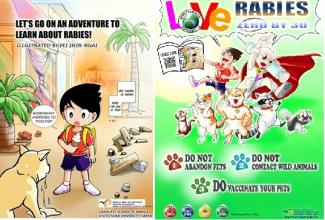 "The 24 pages manga ""Let's Go on an Adventure to Learn about Rabies"" in English versions and the English poster produced by Miss Shih-Huai Fei."