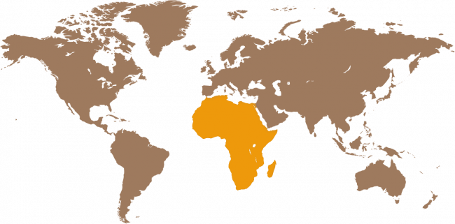 Map of the world with Africa highlighted