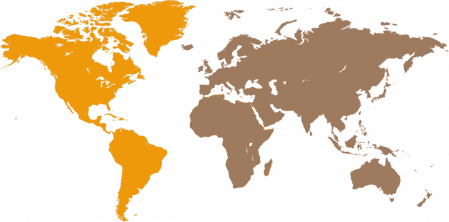 Map of the world with North and South America highlighted
