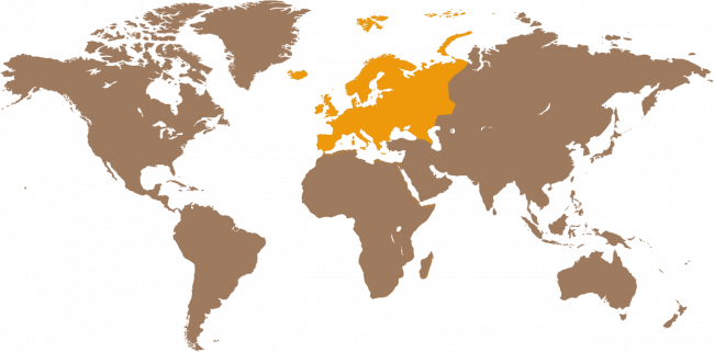 Map of the world with Europe highlighted