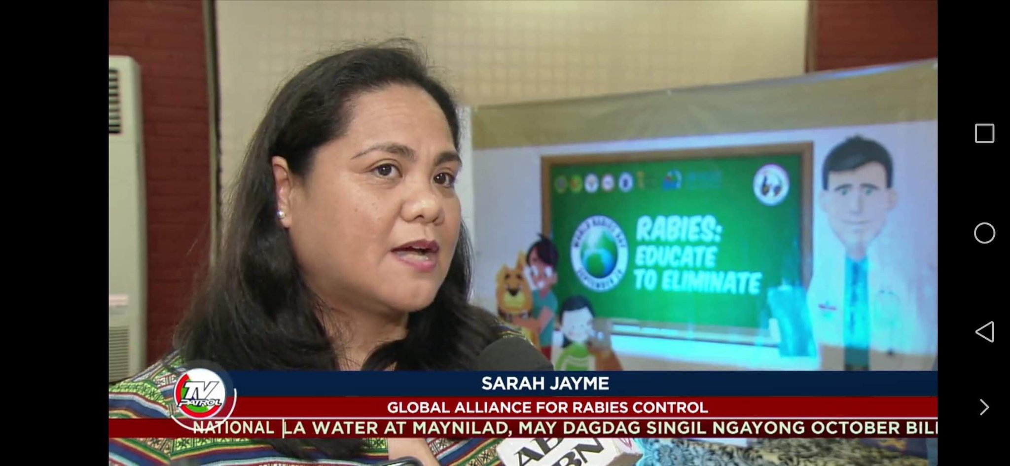 Dr Sarah Jayme of GARC participates in a TV interview about the education initiatives in the Philippines.